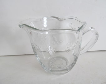 Rose buds Crystal Creamer Clear Glass Cream Pitcher with Roses Ruffled edge glassware