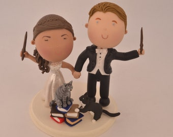 Magical couple with pets. Harry Potter Theme. Wedding cake topper. Wedding figurine.  Handmade. Fully customizable. Unique keepsake