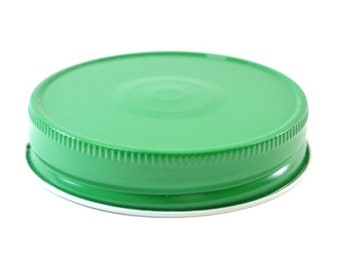 12 pcs Green Mason Jar Lid with Safety Button for Regular Mouth Mason Jars - BPA Free, Plastisol Lined, Made in USA