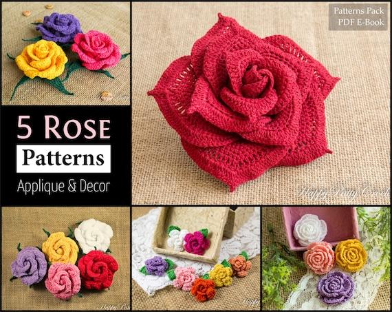 5 Crochet Rose Pattern Bundle All Sizes Mini To Large Crochet
