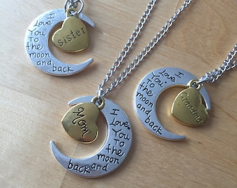 I love you to the moon and back mother daughter Grandma love of mom mother chain Moon mother's day mother's day MOM Mommy jewelry