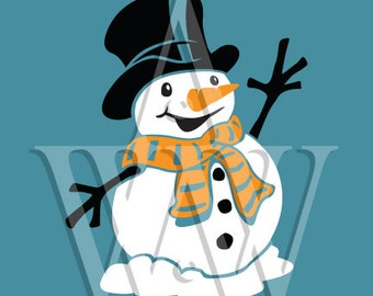Top Hat Snowman Svg Christmas Cut File Dxf Clip Art Png Silhouette Eps Cricut