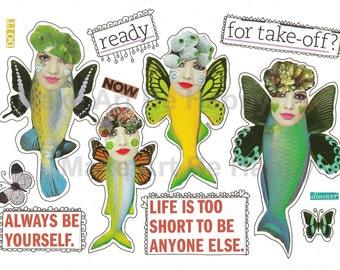 Digital collage sheet,nr. CC35, whimsical creatures, fantasy, imaginary creatures ,handmade, scrapbooking, journaling