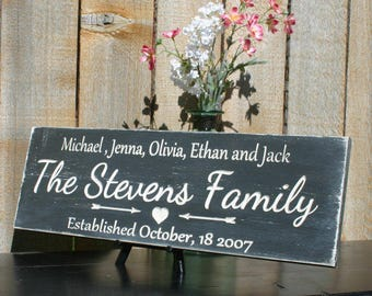 Personalized Family Name Sign Wedding  Last Name Sign Family Established Sign Carved Hand Painted Wedding Gift  Anniversary Gift Shower Gift
