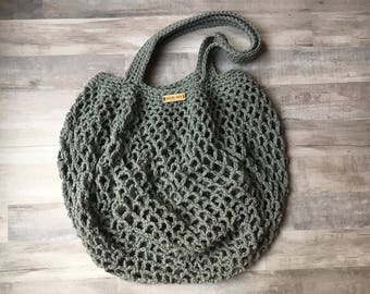Market Bag in Gray - summer beach bag - crochet beach bag - eco-friendly bag - reusable bag - crochet shoulder bag - farmers market