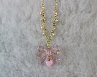 Kawaii Gold and Pink Necklace