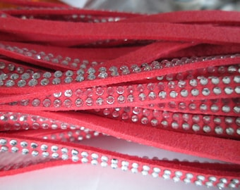 1 m cord suede coral rivet / studs Silver 5 x 2 mm