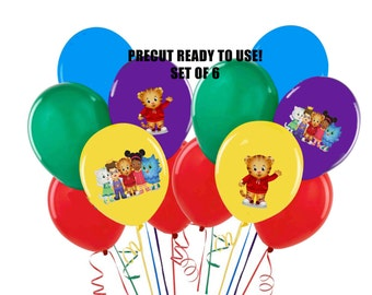 Daniel Tiger Balloon Bags or Tablecloth Stickers PreCut Set of 6 Peel and Stick Daniel the Tiger