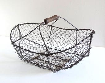 French Antique Chicken Wire Basket - Vintage Normandy Apple Basket - Farmhouse, Rustic Country Basket