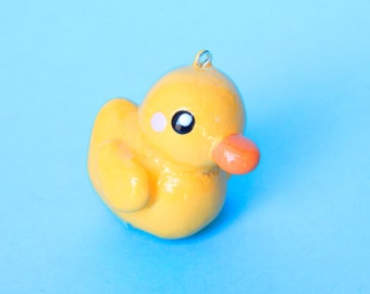 Polymer Clay Duck Charm - Duck Charm - Rubber Ducky - Cute Duck Charm - Duck Keychain - Kawaii Polymer Clay