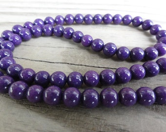 Purple Mountain Jade 6mm Beads Round Smooth - 16 inch Full Strand