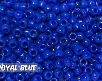 Royal Blue Opaque 6x9 mm Barrel Pony Beads