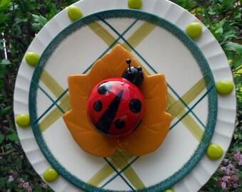 Ladybug Plate Flower, Yard Art, Garden Decor