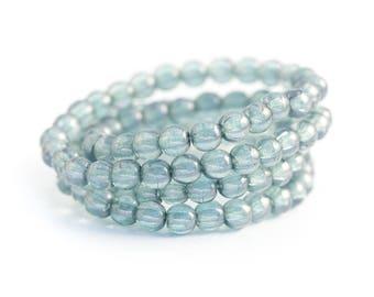 Pressed Czech Glass Ceylon Druk Beads, Smooth Round Spacer Beads, Translucent Blue Denim Luster, 4mm x 50pc (0012)
