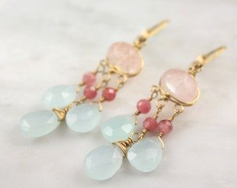 Rose Quartz, Pink Tourmaline and Chalcedony Gold Chandelier Earrings