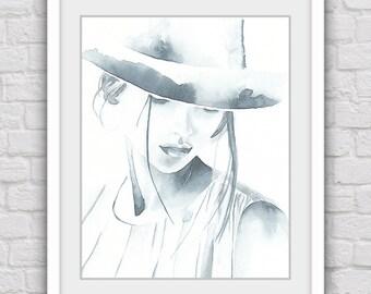 Woman in hat prints, Digital watercolor print, printable art, Fashion illustration wall decor, Modern gray home decor, Instant download