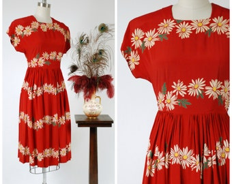1940s Vintage Dress - Bold Cherry Red Floral Print Rayon Early 40s Dress with Daisy Chain Print and Gathered Skirt