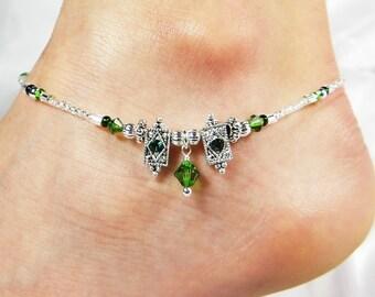 Anklet Ankle Bracelet, Green Anklet, Emerald Jewelry, Dangle Anklet Crystal Anklet Silver Anklet Beaded Anklet Beach Anklet Beach Jewelry