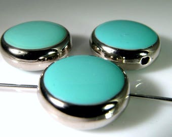 10 Vintage 14mm Turquoise Blue Epoxy Beads Bd2051