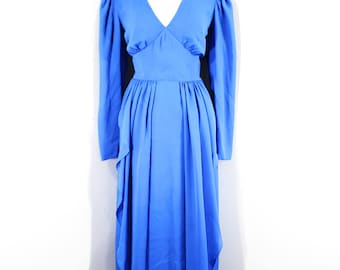 1980s Bright Blue Evening Dress by Miss Elliette, Small to Medium | 80s Vintage Royal Blue Long Sleeve Gown (S, M, 38-28-42)
