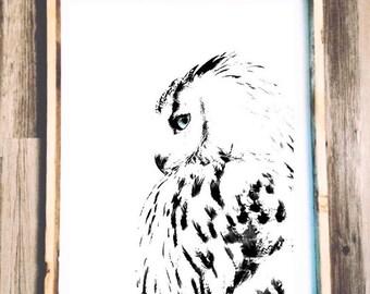 Owl Painting - Art Piece - Original Painting - Wooden Sign - 24x30