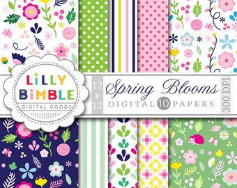 SPRING BLOOMS floral digital paper with spring flowers with polka dots, stripes Instant Download