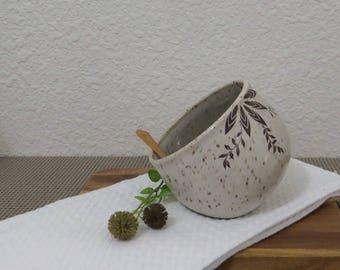 Salt Pig Cellar - Handmde Stoneware Pottery Ceramic - White - 12 ounces