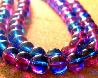50 2 tones-blue and fuchsia - translucent glass beads 8 mm - 4 PE236