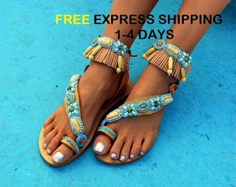 Boho sandals, Ethnic sandals, Beaded sandals, Greek leather sandals, Handmade leather sandals, Bohemian shoes ''Cosmos''