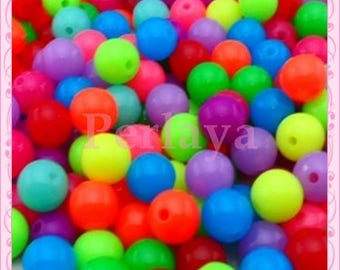 REF2664 - Set of 200 fluorescent acrylic round beads 10mm