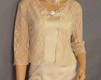 Lace bolero jacket shrug Hip length 3/4 sleeve wedding bridal wrap LBA312 AVAILABLE IN champagne and 4 other colors small through plus size