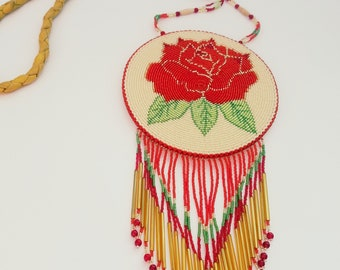One of a kind beaded rose medallion