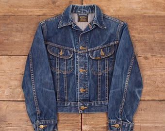 Womens Vintage Lee Faded Dark Blue Denim Trucker Jacket Medium 10 R5821