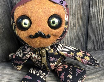 """10"""" Pirate baby doll movable eyes zipper tummy eye patch and moustache by Karen Knapp of Tindle Bears"""