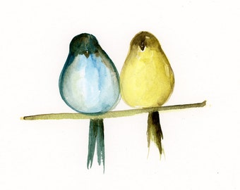 Watercolor Print, Wall Decor, Wall art, Art print, Love, Birds, nature, animal, Fine Art, Modern Art, Minimalist, Wedding Gift