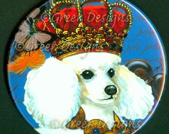Purse Mirror Prince Lancelot White Poodle in Crown 2 sizes available