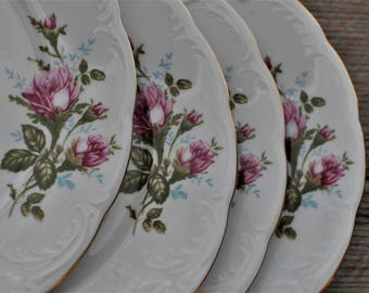 Tea Party China Plates - Mismatched  - Dinner - Pink Roses - Replacement - Wawel - Plates for Wedding - Bridal Dinner Party - Mix and Match