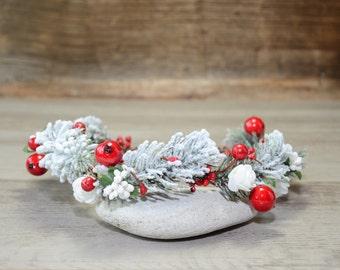 Winter Wedding Crown Floral Crown Woodland Headdress Christmas Flower Crown Woodland  Wreath Holiday Headband Headpiece Festival Halo rustic