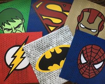 Superhero Canvas,  Super hero wall art, handpainted by KraftyLife
