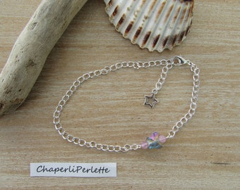 "Clear, silver chain mesh horse ""Lightness"" Rainbow Crystal Butterfly anklet"