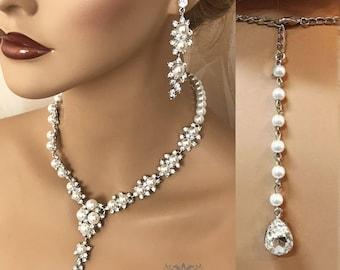 Wedding jewelry set, Bridal jewelry, Bridal necklace earrings, Bridesmaid jewelry, Pearl jewelry set, Vintage, Ballroom fashion jewelry