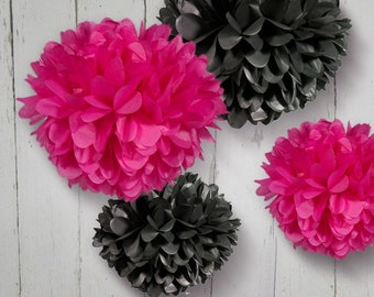 Tissue Paper Pom Poms  - Set of 4 Poms - Weddings//Receptions//Nursery//Parties Decor//Anniversary//Bachelor Party Decor