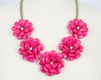 Flower Necklace Pink Statement Necklace Beaded Rose Necklace Peony Necklace Fuchsia