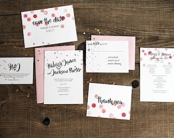 pink polka dots wedding invitation suite - 50 save the dates, invitations, response cards, reception cards, programs, thank you cards