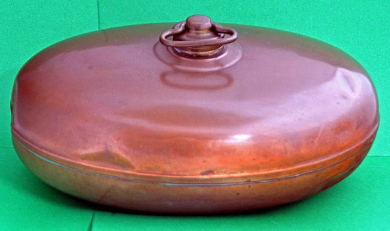 "Antique C 1874 COPPER BED/FOOT Warmer with Original Brass Screw Top About 11"" x 7"" x 4"" Very Good Vintage Condition"