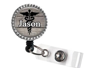 Men's Medical ID Badge Reel, RN ID Holder, Caduceus Id Badge