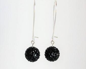 Jet Black Dangle Earrings,  Black Pave earrings, disco ball earrings, large fishhook earrings