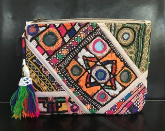 Hand Embroidered Vintage fabric Cosmetic Pouch