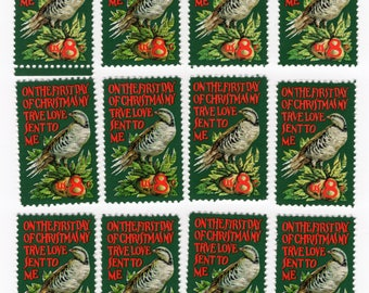 Christmas - Partridge and a Pear Tree - 12 Stamps - 1971 - Mint - Unused - Scott 1445