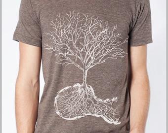 DUST - Tree Roots Skull American Apparel T shirt Mens Womens Tee Full Spectrum Apparel - White Ink IR2